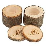 rosenice Señor Señora de madera anillo caja boda Shabby Chic rústico anillo titular 2pcs