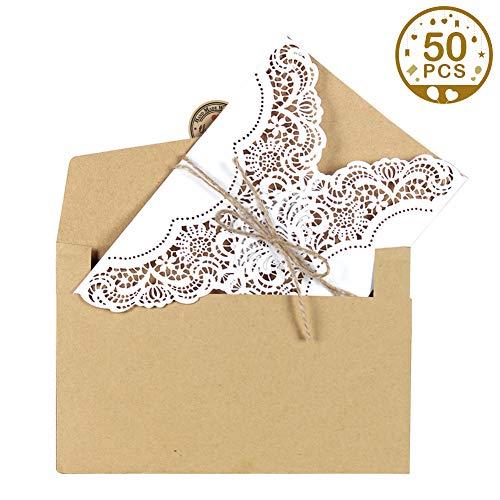 """Aparty4u 50 Hochzeitseinladungen Karten Kits – Vintage Umschläge mit\""""Thank You\""""-Aufkleber, Abend-Einladungskarten für Hochzeit, Jahrestag, Geburtstag, Abschlussfeier"""