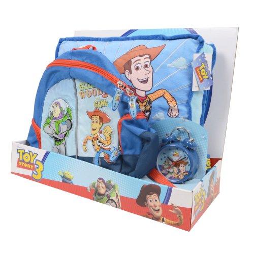 Disney Toy Story Coffret cadeau pour enfant avec coussin, réveil et sac Woody Buzz