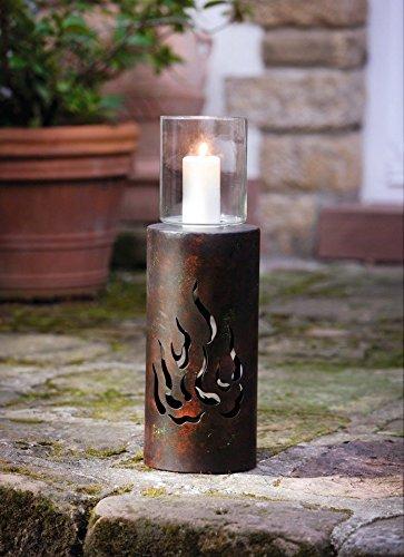 H=90cm Edelrost Naturrost Rost Deko Metallsäule Windlicht Glas-Metallwindlicht