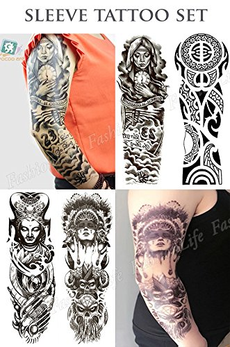 temporare-korperkunst-entfernbare-tattoo-aufkleber-set-4-sheets-4-pcs-tattoo-set047-sticker-tattoo-t