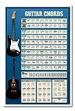 Gitarre Akkorde Poster Learn to Play E- und Acustic Magnettafel weiß Rahmen, 96,5x 66cm (ca. 96,5x 66cm)