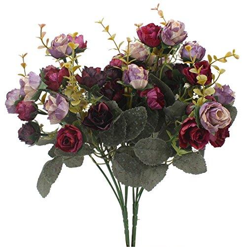 duovlo 7Ast 21Köpfe Künstliche Blumen Strauß Rose Hochzeit Mini Home Office Decor, 4Stück Violett (2 Stück) -