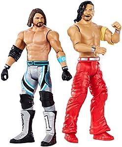 Mattel WWE-Wrestlemania-Pack de 2 figuras de acción luchadores AJ Styles vs Shinsuke Nakamura, juguetes niños 8 años GDC04, multicolor