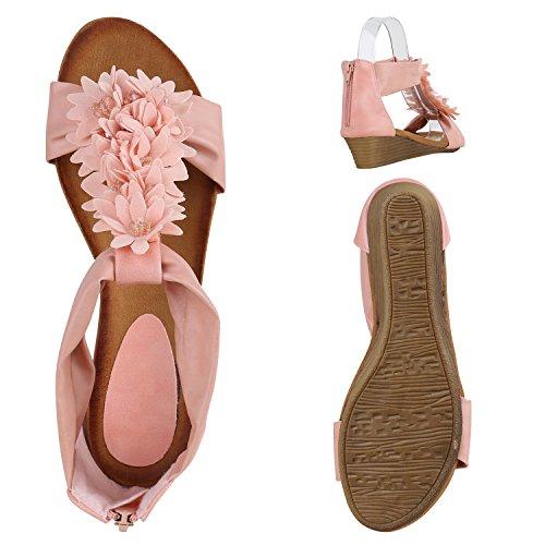 Damen Keilabsatz Sandalen | Riemchensandalen Strass | Sandaletten Wedges Glitzer | Blumen Metallic Flats | Sommerschuhe Rosa Blumenschmuck