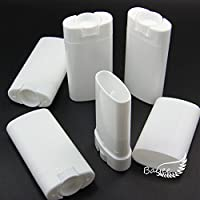 Bayee Pack of 10 Deodorant Containers New & Empty Oval Lip Balm Tubes White 15ml