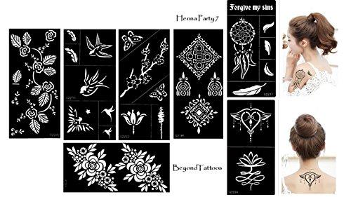 Tattoo Stencil Template 7pezzi set Henna Party 7per uso singolo per corpo e più
