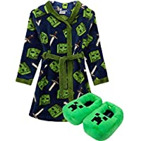 Minecraft Creeper Bathrobe & 3D Slippers Boys/Kids Gift Set Bundle