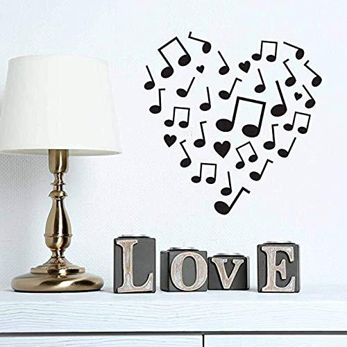 r Moderne Ornamente Form Music Note Love Vinyl Wandaufkleber für Süße Wohnzimmer Kunst Aufkleber Wandbilder 42 * 42 cm ()