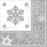 """Amscan Sparkling Snowflake Dinner Christmas Napkins(16 Pieces), Silver/White, 8"""" x 8"""""""