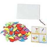Forma Geométrica Tangram Juego de Tablero de Rompecabezas DIY Colorido Azulejo de Madera Creativa Educación Temprana Kits de Cajas de Juguetes Educativos Regalos de Cumpleaños para Bebés