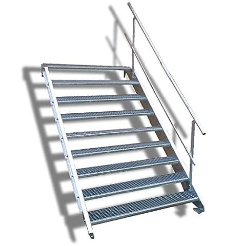 N&H Systeme 9-stufige Stahltreppe mit einseitigem Geländer / Breite: 100 cm / Wangentreppe mit 9 Stufen / Inklusive Zubehör / Robuste Außentreppe Stabile Industrietreppe für den Außenbereich
