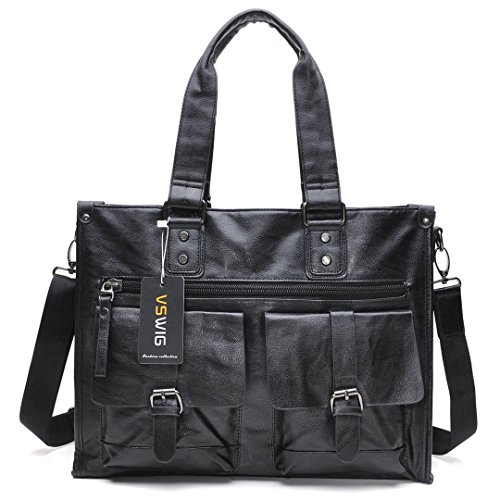 VSWIG Vintage Aktentasche Businesstasche Leder Herren Damen Lehrertasche XL groß Büro Business Umhängetasche für 15,6 Zoll Laptop PU-Leder Unisex (Schwarz) (Fach Aktentaschen)