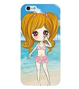 Printvisa Sweet Gir Lon A Beach Back Case Cover for Apple iPhone 6S