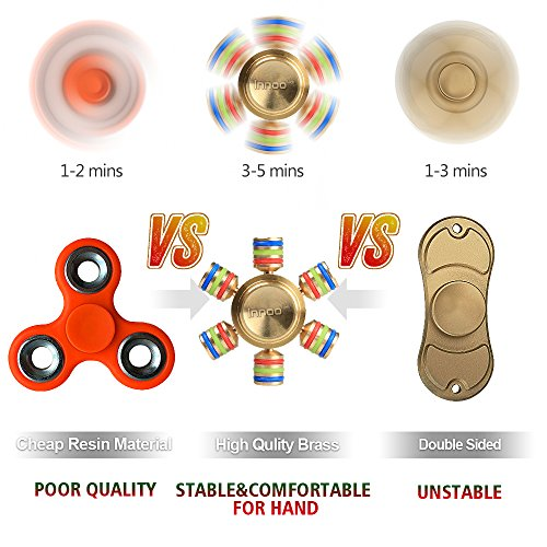 Fidget Spinner | Innoo Tech Six Wings Hands Spinner | 100% Brass | Spins 3 Minutes+ | High Speed Stainless Steel Bearing | ADD, ADHD Focus Anxiety Relief Toys