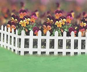 Set Of 5 White Wood Effect Plastic Panel Pvc Garden Lawn Edging Flowerbox Picket Fence Panels