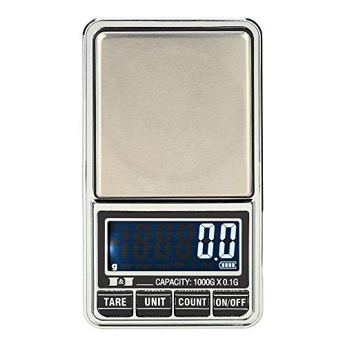 KKmoon Mini Báscula profesional digital electrónica por 600g*0,01g / 1000 g 0,1 g * Escala de bolsillo de la joyería Mini Digital con 7 unidades de g, ozt, ct, dwt, GN, t y Oz.Características: Diseño ultra-compacto y una excelente calidad. Capacidad...