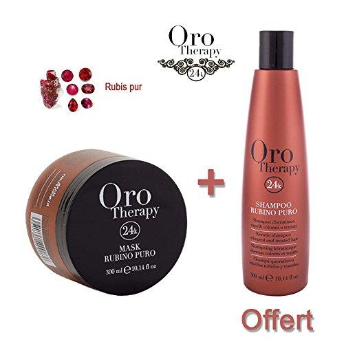 Lot masque cheveux colorés 300ml Oro Therapy avec shampooing 300ml offert