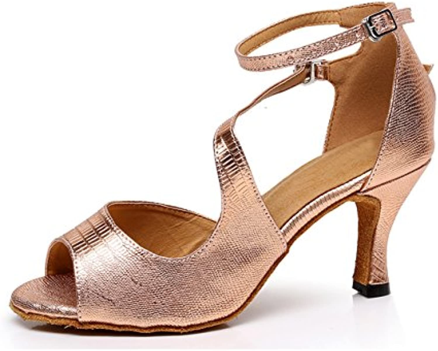 a180655a41e MINITOO TQJ5009 Ladies Stylish Rose Gold Synthetic Synthetic Synthetic Tango  Latin Ballroom Dance Shoes Evening Wedding Sandals 8 UK Parent B01M32GS7B  ...