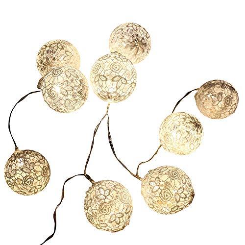 TIREOW marokkanische LED Lichterkette Kugeln Orientalisch Spitze Gesamtlänge warm weiß Batterie Box Stromversorgung für Party,Weihnanchten,Geburtstag, Hochzeit,Garten,Wohnzimmer,Terrasse (10 LED)