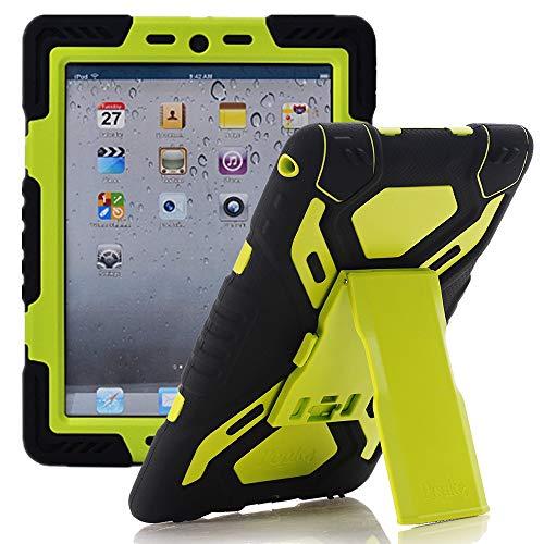 iPad Air 2 Hülle, Meiya multifunktionale Silikon stoßfest wasserdicht Drop robuste Fall, Heavy Duty Case, Kindersichere Hülle Kind Schutzhülle Geschenk für Apple iPad Air 2 Schwarz/Grün