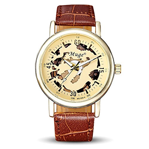 Moda oro scheletro automatico Mechanical Men Brown Leather Watch Strap
