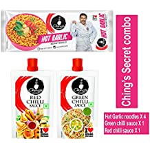 Ching's Secret Combo of Hot Garlic Masala Instant Noodles (240g) x 4, Green Chilli Sauce(90g) x 1, Red Chilli Sauce(90g) x 1