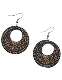 Idin Jewellery - Eye-catching black and orange zebra inspired disc wooden drop earrings aQy8Rtyyw9