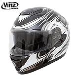 Vinz Motorradhelm, Integralhelm, Rollerhelm in schwarz und silber in Gr. S-XL | Motorradhelm mit Sonnenblende (M)