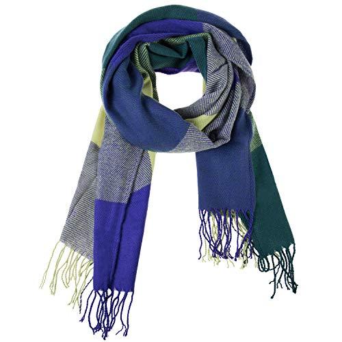 Damen Winter Schal Kariert übergroßer Quadratisch Deckenschal, Karo Tartan Streifen Plaid Muster XXL Oversized Fransen Poncho MEHRWEG -