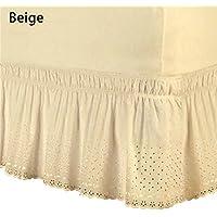 JOHLYE Falda de cama envolvente alrededor de ajuste fácil Colcha de bordado de algodón Falda de