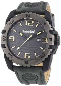 Timberland - TBL.13856JPBU/61 - Brookline - Montre Homme - Quartz Analogique - Cadran Gris - Bracelet Cuir Vert