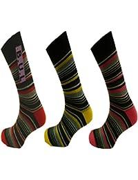 Aler Pierre Calvini Lot de 6 paires de chaussettes rayées riches en coton