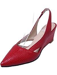 Damen Ziehen auf Niedriger Absatz PU Rein Rund Zehe Pumps Schuhe, Rot, 43 AalarDom