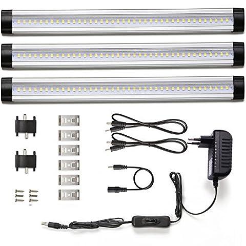 LE Lot de 3 unités, 4W Lampes de Placard 900lm, Lampe de cabinet 3000K Blanc Lumière Chaude, Équivalent à Tube Fluorescent 24W, Lampe d'armoire 12V DC, Barre Lumineuse LED tous les Accessoires Inclus