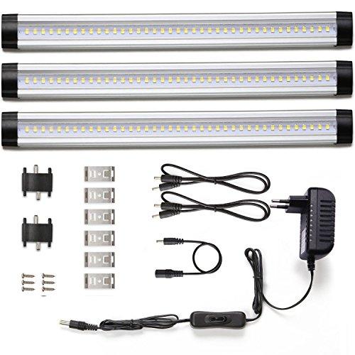 LE 3er LED Schrankleuchte, Unterbauleuchte, Lichtleiste, Warmweiß, Insgesamt 12 Watt, Ersatz für 24W Leuchtstoffröhre, LED Unterbauleuchten-Set, 12 V DC, 300mm, 900lm, 2700K, Inklusive Alle Zubehör, 120° Abstrahlwinkel, mit Schalter, flache Küchenlampen, LED Leuchte für Kleiderschrank
