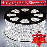 STRISCIA LED FLESSIBILE STRIP LED 5050 INTERNO ESTERNO 220V BOBINA DA 50 METRI + 5 SPINE (GRATIS) *LA MAGIA DELLO SHOPPING*