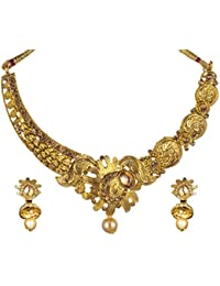 Trendtales Gold Plated Necklace Set Jewelry For Women With Jhumka Earrings Pearl Drop A262
