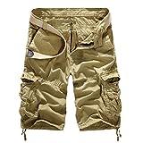 Vertvie Herren Vintage Cargo Hose Bermuda Shorts Kurze Hose Strandhose Knielang ohne Gürtel(EU 46/Etikettengröße 31, Beige)