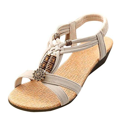 Amlaiworld ❤️Sandales Femmes, Sandales Casual Peep-Toe Chaussures à Boucle Plate Sandales d'été Romaines (EU 40, Beige)