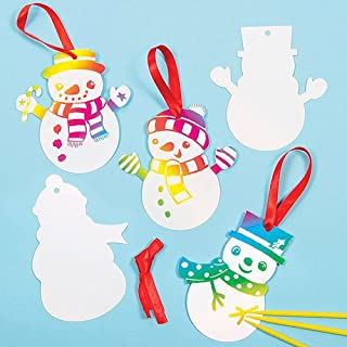 Baker Ross Snowman Scratch Art Decorations for Children to Make and Hang on Christmas Tree (Pack of 10)