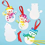 Baker Ross Weihnachten Kratzbild-Deko - Schneemänner für Kinder zum Basteln und als Baumschmuck (10 Stück)
