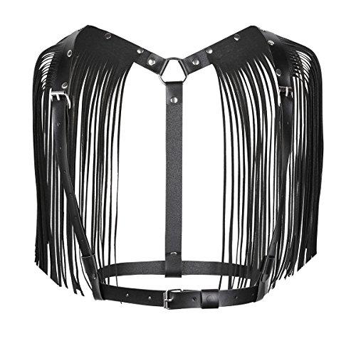 YOOJIA Damen Brust Harness Bra Kunstleder Bralette Strappy Cage BH Quasten Geschirr Nachtclub Gogo Tanz Kostüm Clubwear Schwarz One Size