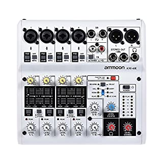 ammoon 6-Kanal Digitaler Audio-Mixer Mischpult Eingebauter 48V Phantomspeisung Powered by 5V Power Bank mit Netzadapter USB-Kabel für die Aufnahme