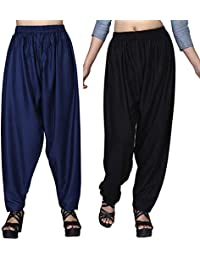 Dada Shopy Comfort fit Baggy Pants, Loose Pant Palazzo for Women, Girls combo 2 (Blue::Black, Free Size)