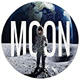 Pet Mat Round Rug Mat Carpet,Outer Space Decor,Moon Invasion of the Miniature Astronaut Stands on Surface World Image,Blue Grey,Flannel Microfiber Non-slip Soft Absorbent,for Kitchen Floor Bathroom