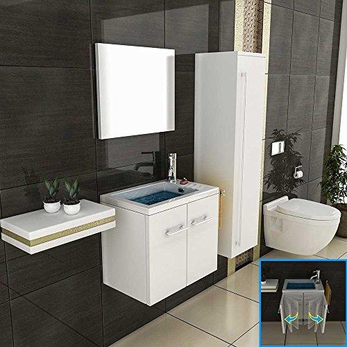 Badmöbel Set mit Waschbecken aus Mineralguss und Unterschrank mit Softclose-Funktion / weiß / 50 cm Breite