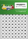 250 nummerierte Klebepunkte, 15 mm, weiß, aus PVC Folie, wetterfest, Markierungspunkte Kreise Punkte Zahlen Nummern Aufkleber
