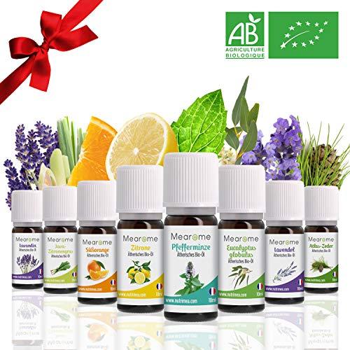 Aromatherapie Set Bio Deluxe für Diffuser - Ätherische Öle BIO Set - 8 Duft-Öle 100{28635192ea99032a39431aab593b36833728c96933138ca8f786f5fd4fbef832} Naturrein: Mit u.a. Pfefferminze Lavendel Eucalyptus Zitrone Zitronengras Süssorange – Geschenk-Idee/-Box