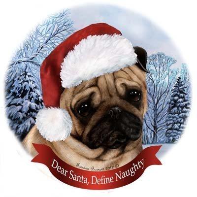Pet Geschenke USA Hunderassen in Santa Hüte Porzellan China zum Aufhängen Howliday Ornament 3 x 3 inches mops -